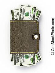 cash wallet isolated on a white background
