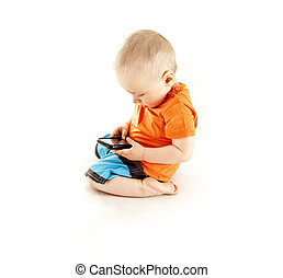 baby talking by mobile phone
