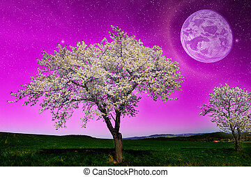 Fantasy night landscape with a pink sky with a planet and a...