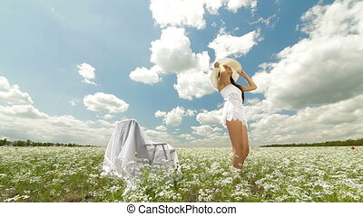 Young Woman On White Field