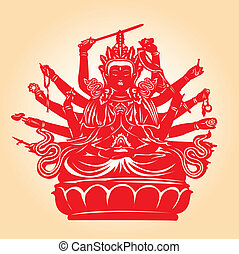 Thousand hands Buddha. - Thousand hands Buddha in red...