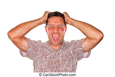 Pulling hair out - Stressed man who is losing control and...