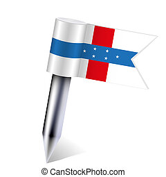 Vector The Netherlands Antilles flag isolated on white. Eps10
