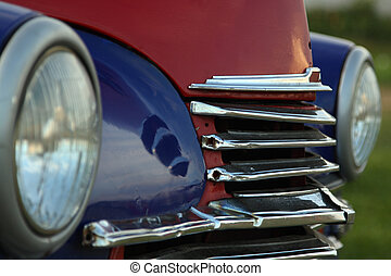 Vintage car grille - An old vintage car with chrome grille