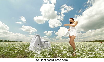 Happy Young Woman In A Field - Happy Young Woman Enjoying...