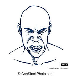 Angry man. Hand drawn vector isolated on white