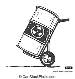 Nuclear waste in a barrel Hand drawn vector isolated on...