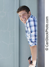 Smiling Teenage Boy - Portrait of teenage boy smiling and...