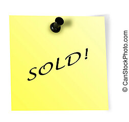 "Black pin and yellow paper with word ""sold"""