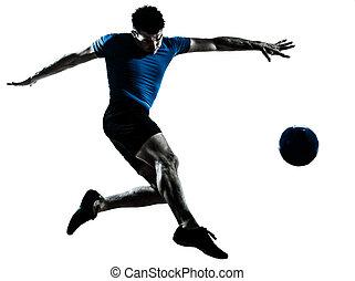 hombre, futbol, fútbol, jugador, vuelo, patear
