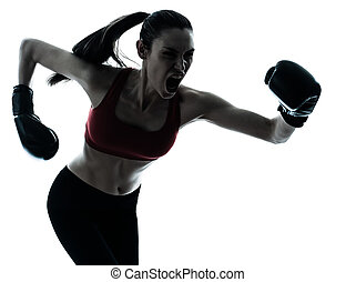 beautiful woman exercising boxe - one caucasian woman boxing...