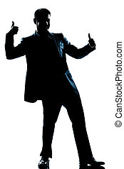 silhouette man full length double thumb up - one caucasian...