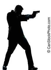 silueta, hombre, Lleno, Longitud, disparando, arma de fuego