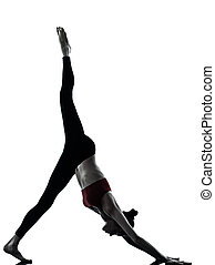 woman exercising yoga Adho Mukha Svanasana - one caucasian...