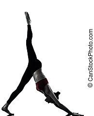 mujer, ejercitar, yoga, Adho, Mukha, Svanasana