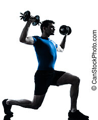 man exercising weight training workout fitness posture - one...