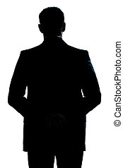 silhouette man portrait backside standing - one caucasian...