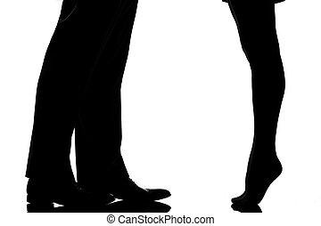 detalhe, pernas, pés, par, homem, mulher, amantes,...