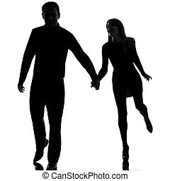 one couple man and woman running hand in hand