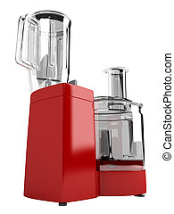 Red food processor isolated on white background