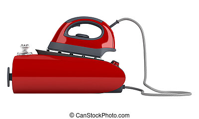 Professional central steam iron isolated on white background