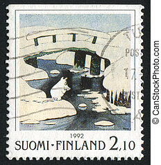 Bridge - FINLAND - CIRCA 1992: stamp printed by Finland,...