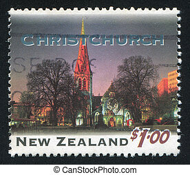 Christchurch - NEW ZEALAND - CIRCA 1995: stamp printed by...