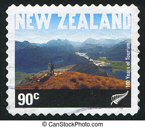 Sightseers on Mountain Alfred - NEW ZEALAND - CIRCA 2001:...