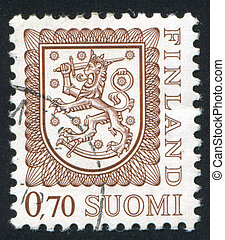 Coat of arms of Finland - FINLAND - CIRCA 1974: stamp...
