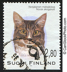 cat - FINLAND - CIRCA 1995: stamp printed by Finland, shows...