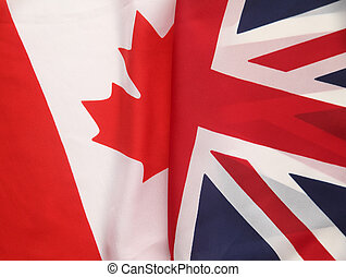 Canada and Great Britain flags - a section of the flag of...