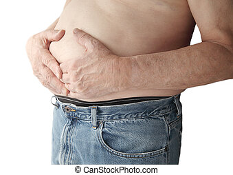 bare-chested man with stomach ache - a man holds his stomach...