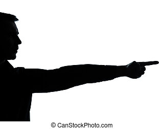 one business man hand silhouette pointing