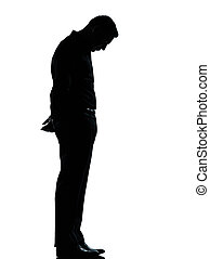 one business man sad lonely silhouette - one caucasian...