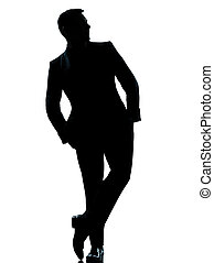 one caucasian business man silhouette standing Full length...