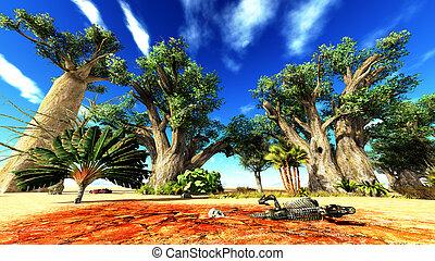 dinossauro, ossos, mentindo, africano, deserto