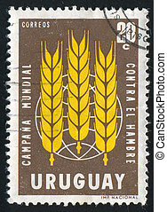 Wheat Emblem - URUGUAY - CIRCA 1963: stamp printed by...