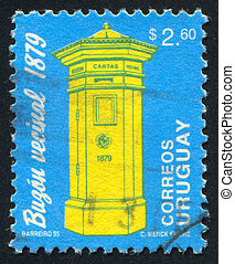 Letter Box - URUGUAY - CIRCA 1993: stamp printed by Uruguay,...