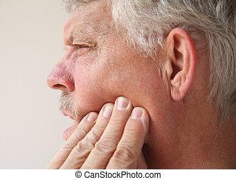 homme, dent, ou, mâchoire, douleur