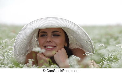 Young Beautiful Girl Relax At Field