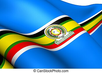 East African Community Flag. Close Up.