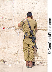 israel, militar, hombre, rezando, el, Occidental, pared,...