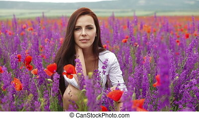 woman in blossoming field
