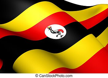 Flag of Uganda. Close Up.