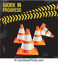 Work in progress - traffic cones on grunge background with...