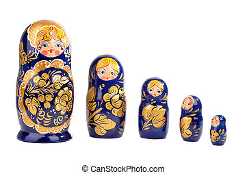 Matryoshka dolls - Russian matryoshka dolls isolated on...