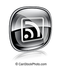 WI-FI icon black glass, isolated on white background