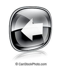 Arrow left icon black glass, isolated on white background