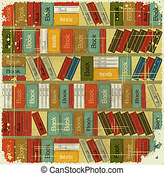 Vintage Book Background - Bookcase Vector Background -...