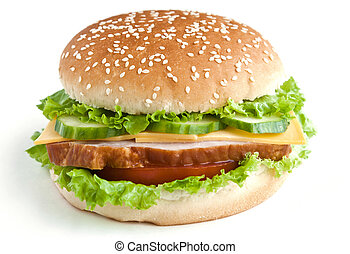 burger with meat and vegetables